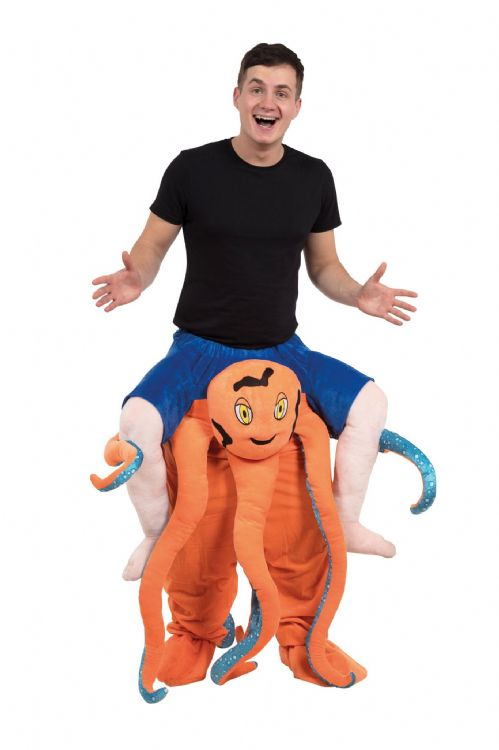 Adults Octopus Piggy Back Costume Sea Animal Fancy Dress Outfit
